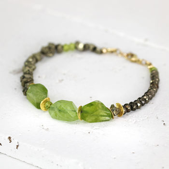 Raw Peridot And Pyrite Bracelet