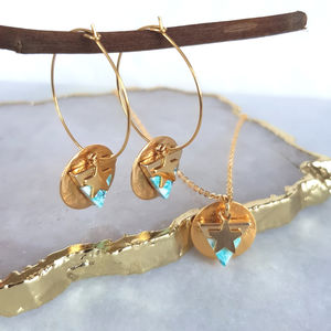 Tiny Gold Star Earrings And Necklace Set - earrings