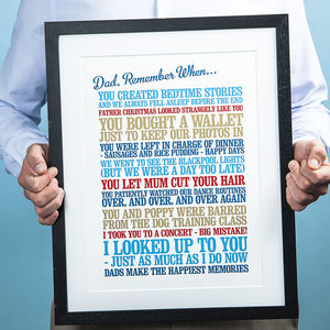 Personalised 'Remember When' Print - 50th birthday gifts