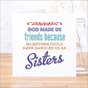 'God Made Us Friends' Contemporary Quote Card - blank cards