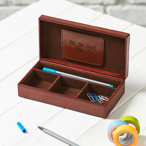 Personalised Leather Desk Tidy Box - for grandfathers