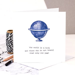 Bon Voyage Card; The World Is A Book - cards sent direct