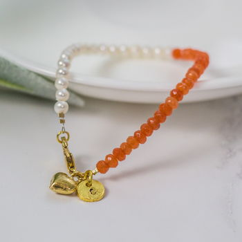 Personalised Orange And Gold Beaded Gemstone Bracelet