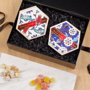 Handmade Wooden Box Turkish Delight Gift Set - sweets