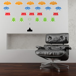Space Invaders Wall Stickers - gifts for him