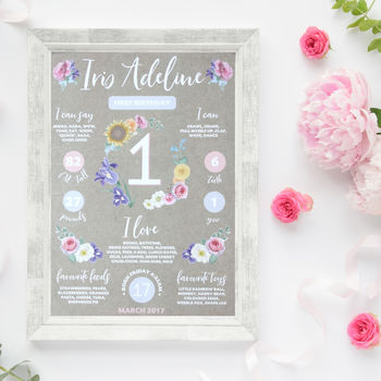 First Birthday Personalised Print