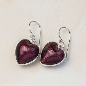 Heart Earrings In Silver And Murano Glass