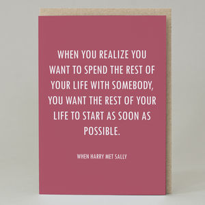 'When Harry Met Sally Quote' Card
