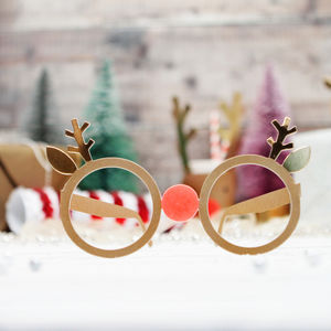 12 Christmas Rudolf Reindeer Party Glasses - photobooth props & backdrops