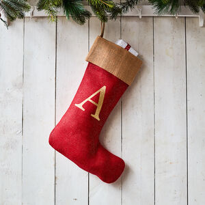 Monogrammed Red Glitter Christmas Stocking