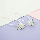 Hammered Heart Sterling Silver Drop Earrings