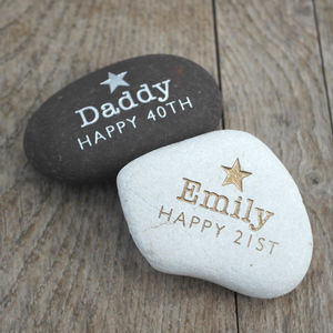 Engraved Metallic Occasion Stone - decorative accessories