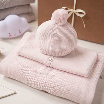 Luxury Baby Girl Pink And Grey Knitted Gift Box