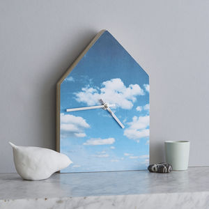Blue Cloudy Sky House Wall Clock - children's room accessories