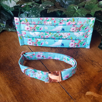 Turquoise Birds And Flowers Dog Collar