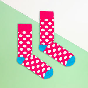 Pink And White Polka Dot Sock - men's fashion