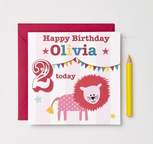 Girls Personalised Circus Lion Birthday Card