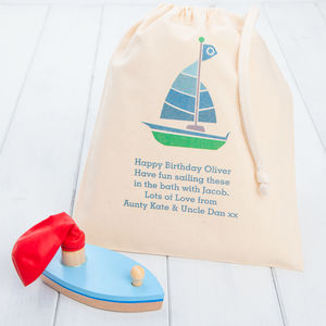 Wooden Balloon Toy Boat And Personalised Gift Bag - bath toys