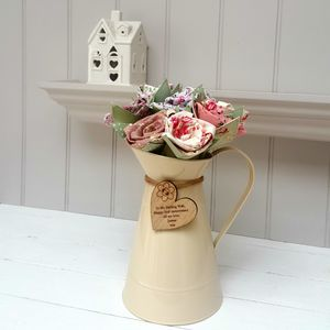 Wood Anniversary Flowers In Metal Jug With Oak Tag