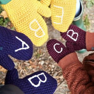 Personalised Initial Mittens Single Pair