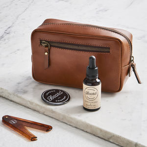 Beard Grooming Kit And Leather Wash Bag