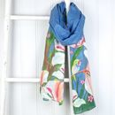 Navy Blue Hummingbird Scarf