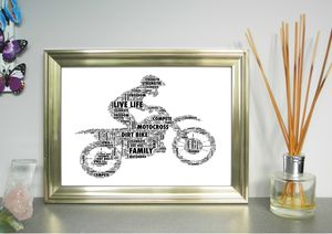 Motocross Motorbike And Rider Personalised Print - posters & prints