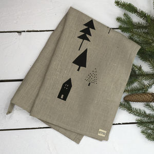 Linen Woodland Tea Towel