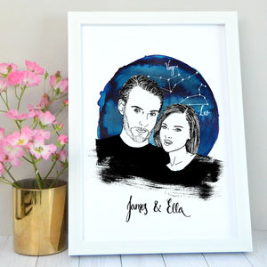Anniversary Personalised Portrait Illustration - for the couple