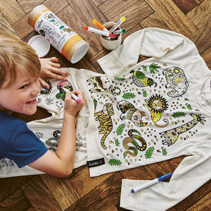 Jungle 'Colour In' Pyjamas With Fabric Pens - christmas with free uk delivery