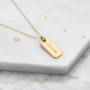 Gold Or Silver Engraved Nameplate Pendant Necklace