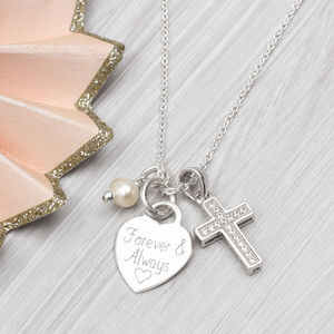 Personalised Sterling Silver Heart And Cross Necklace - necklaces & pendants