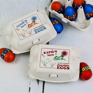 Personalised Egg Box With Foiled Wrapped Chocolate Eggs - chocolates