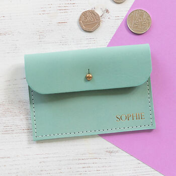Personalised Leather Coin Purse, Card Case