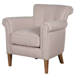 Upholstered Linen Armchair In Natural - office & study