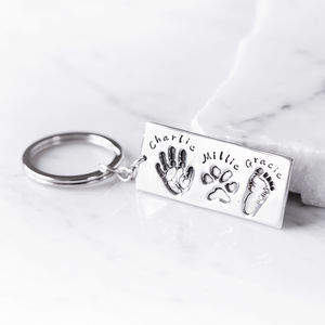 Personalised Hand Foot And Pet Print Key Ring