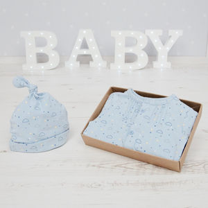 Baby Boy Sunshine And Clouds Babygro And Hat Set - gifts for babies