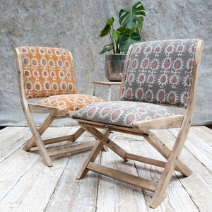 Upholstered Folding Mango Wood Chair - chairs