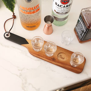 Personalised Wooden Serving Paddle And Shot Glasses