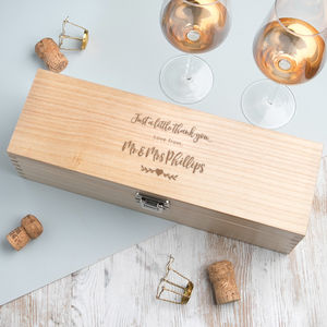 Personalised Engraved Wine Box Wedding Thank You Gift