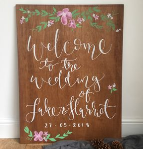 Large Wooden Wedding Welcome Sign - room decorations