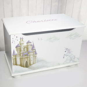 Personalised Toy Box Fairy Tale Design - unicorns