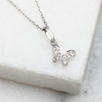 18ct White Gold And Diamond Set Butterfly Necklace