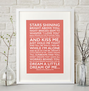 Personalised Favourite Song Print - typography