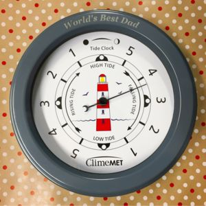 Personalised Red Lighthouse Tide Clock