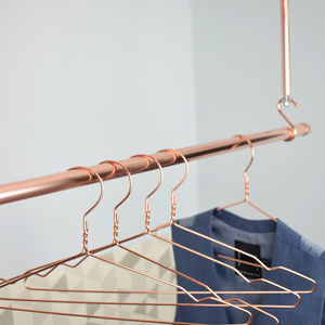 Copper Clothes Hangers, Set Of Five - new in home