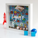 Personalised Robot Print Money Box Frame