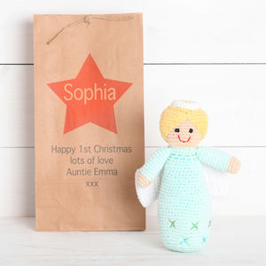 Personalised Gift Bag With Fair Trade Angel Rattle