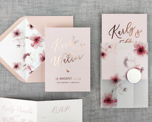 Rose Gold Floral Folding Wedding Invitation