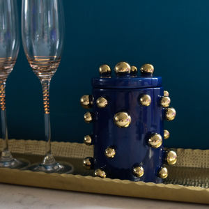 Blue Jar With Gold Dots